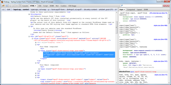 Default CF7 form in Firebug - Click on image to open a larger version