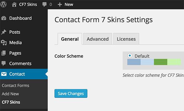 CF7 Skins Settings page
