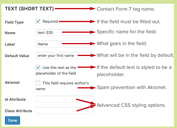 CF7 Skins - Form - Edit a Field Options