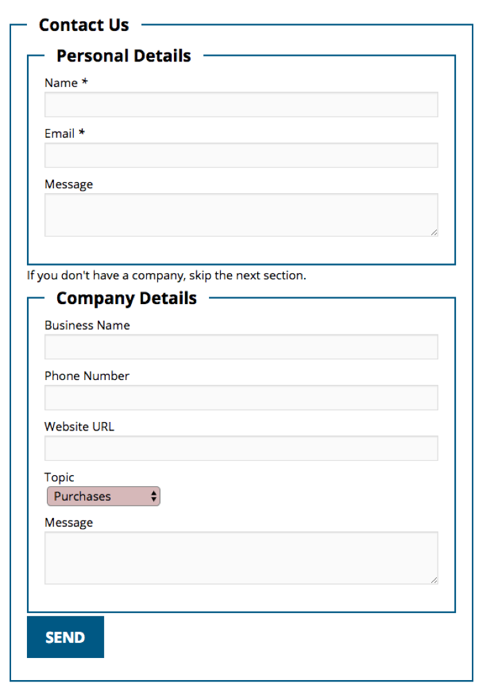 CF7 Skins - WordPress - Multiple Fieldset Contact Form