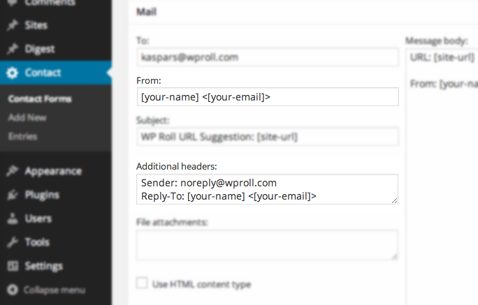 Contact Form 7 Additional Headers - Sender and Reply To in CF7 Mail