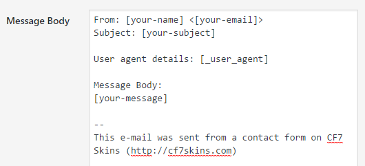 user agent special mail tags