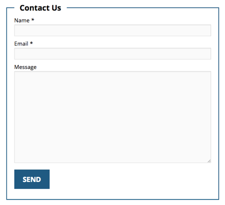 F7 Skins Single Fieldset Contact Form on a WordPress Page