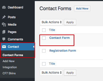 WordPress Admin - Contact Form Plugin