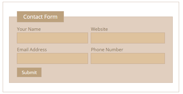 Contact Form 7 Fields in Column example form