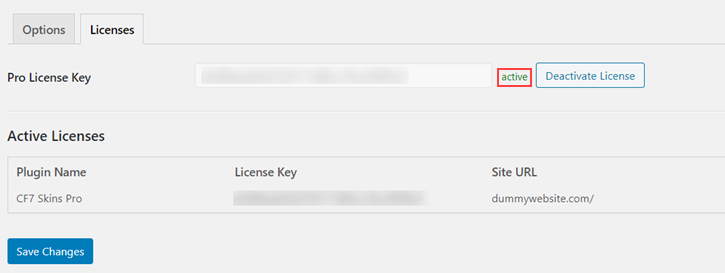Active status of a license
