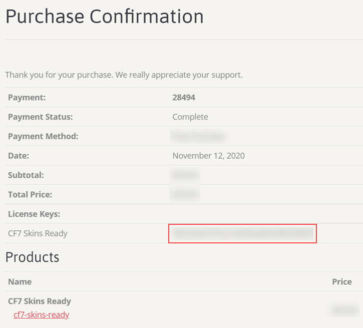 License Key in Purchase Confirmation
