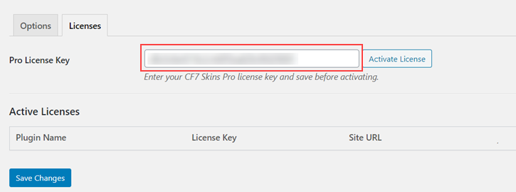 Adding License in the Licenses tab