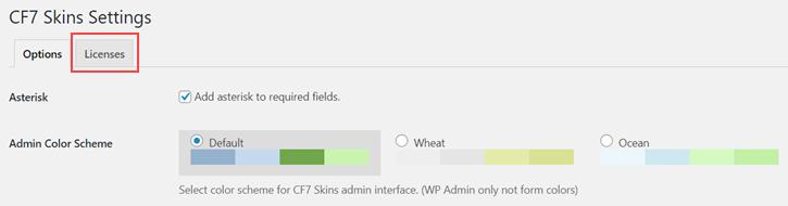 Licenses tab in CF7 Skins Settings