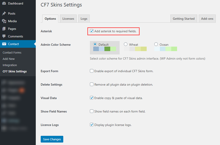 Show or hide Asterisk in required fields in CF7 Skins Settings