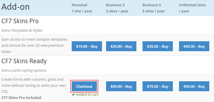 Checkout button in the Pricing page