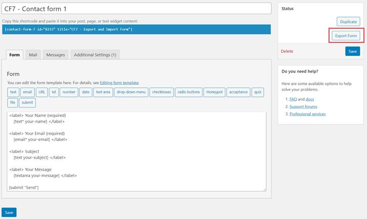 Export Contact Form 7 Form