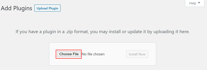 Choose plugin file - Installing CF7 Skins