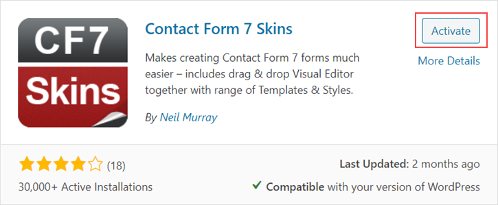 Activate Contact Form 7 Skins