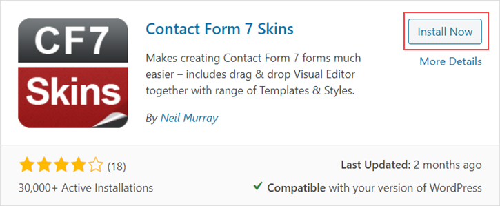 Installing Contact Form 7 Skins from Search