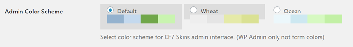 Admin Color Scheme - CF7 Skins Settings Options