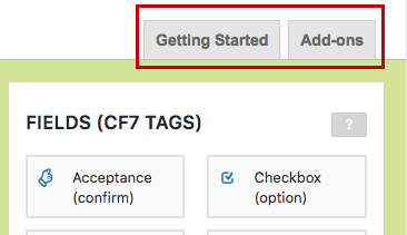 CF7 Skins - UI - Getting Started and Add-Ons Tabs