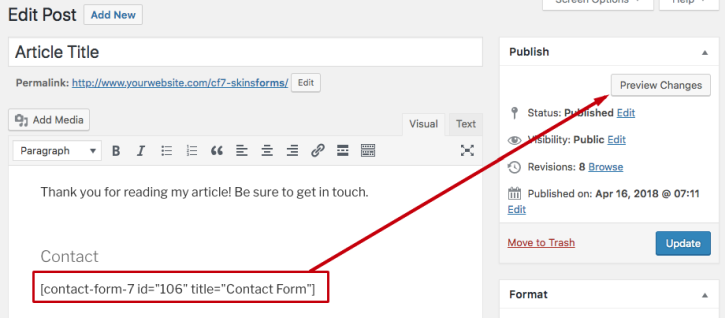 Wordpress Post - Contact Form 7 Shortcode - Preview