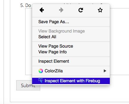 Firebug inspect element