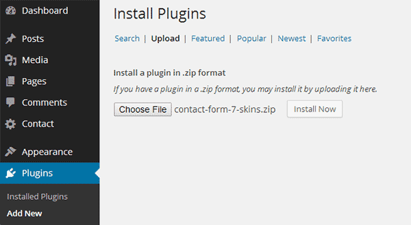 Installing a plugin by uploading the plugin's zip file to WordPress
